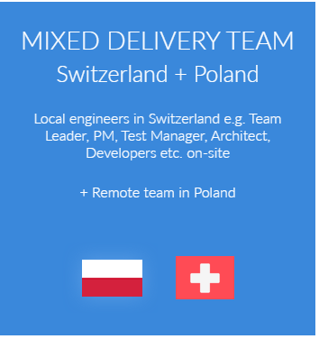 Local engineers in Switzerland e.g. Team Leader, PM, Test Manager, Architect, Developers etc. on-site